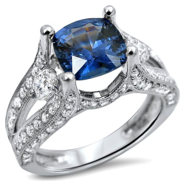 Noori 18k White Gold 2ct TGW Cushion Cut Sapphire 3 stone Diamond Engagement