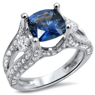 Noori 18k White Gold 2ct TGW Cushion Cut Sapphire 3-stone Diamond Engagement Ring (F-G,SI1-SI2)