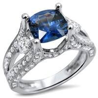 Noori 18k White Gold 2ct TGW Cushion Cut Sapphire 3-stone Diamond Engagement Ring (F-G,SI1-SI2)