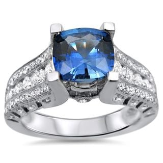 Noori 18k White Gold 2ct TGW Cushion-cut Blue Sapphire and 1ct TDW Diamond Engagement Ring (F-G, SI1-SI2)