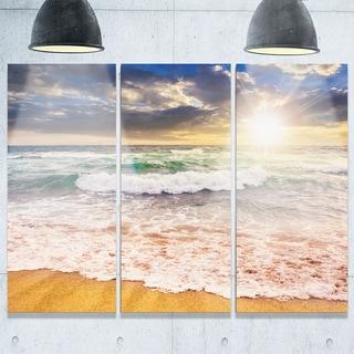 Roaring Sea Waves and Bright Sun - Seashore Metal Wall At - 36Wx28H