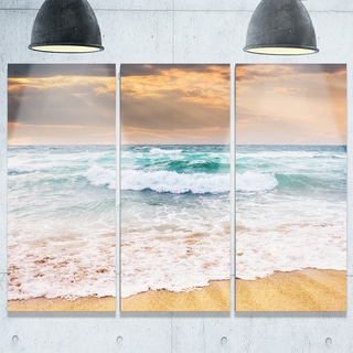 Blue Sea Waves Kissing Sandy Beach - Seashore Metal Wall At - 36Wx28H