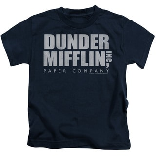 The Office/Dunder Mifflin Distressed Short Sleeve Juvenile Graphic T-Shirt in Navy
