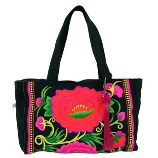 Hand Embroidered London Rose Bag in Pink & Black - Global Groove (Thailand)