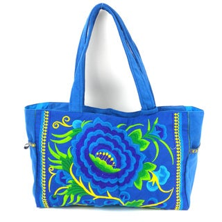 Hand Embroidered London Rose Bag in Turquoise - Global Groove (Thailand)