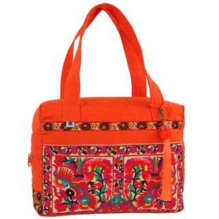 Hand Embroidered Hmong Retreat Bag in Orange - Global Groove (Thailand)