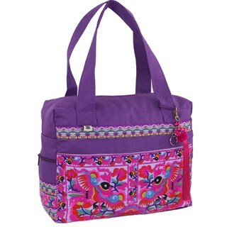 Hand Embroidered Hmong Retreat Bag in Purple - Global Groove (Thailand)