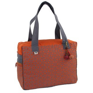 Handmade Flower of Life Retreat Bag in Terracotta & Grey - Global Groove (Thailand)