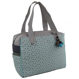 Handmade Flower of Life Retreat Bag in Grey & Turquoise - Global Groove (Thailand)