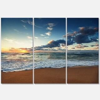 Sunrise and Glowing Waves in Ocean - Seashore Metal Wall At - 36Wx28H