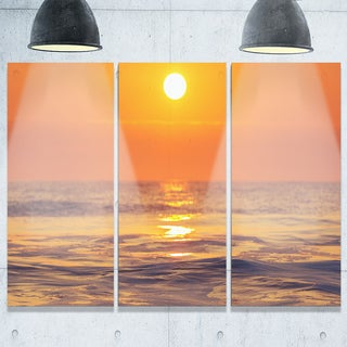 Orange Sunrise and Glittering Waters - Seashore Metal Wall At - 36Wx28H