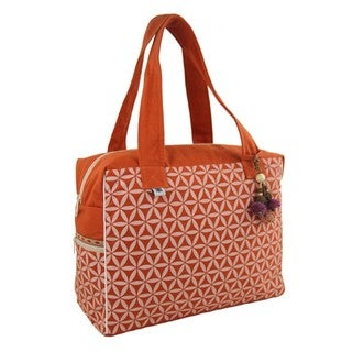 Flower of Life Retreat Bag in Terracotta & Cream - Global Groove (Thailand)