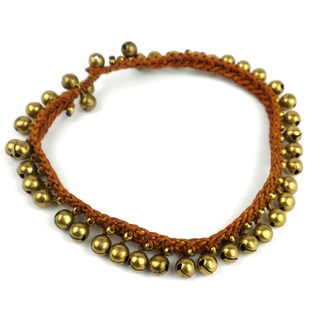 Handmade Rasa Bells Anklet in Earth - Global Groove (Thailand)