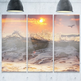 Sunrise and Roaring Ocean Waves - Seashore Metal Wall At - 36Wx28H