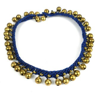 Handmade Rasa Bells Anklet in Navy - Global Groove (Thailand)