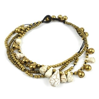 Handmade Bohemian Tear Drop Anklet in White - Global Groove (Thailand)