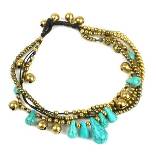 Handmade Bohemian Tear Drop Anklet in Turquoise - Global Groove (Thailand)