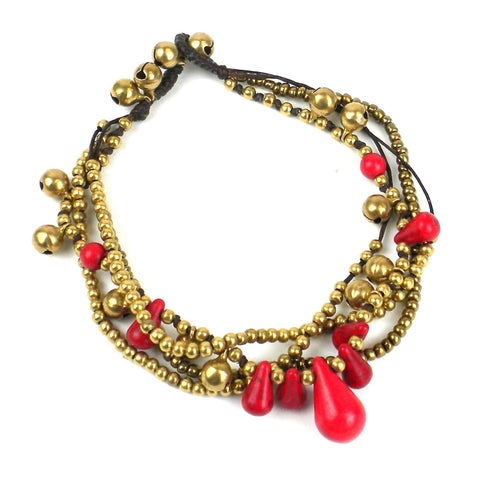 Handmade Bohemian Tear Drop Anklet in Red - Global Groove (Thailand)