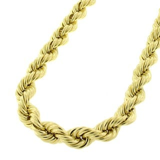10k Yellow Gold 6mm Hollow Rope Chain Necklace