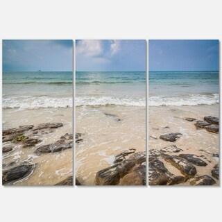 Rocks on Typical Tropical Beach - Beach Metal Wall At - 36Wx28H