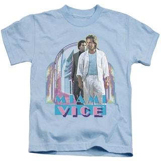 Miami Vice/Miami Heat Short Sleeve Juvenile Graphic T-Shirt in Light Blue