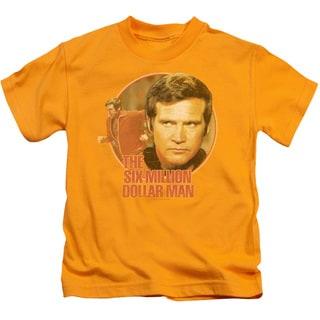 Six Million Dollar Man/Run Faster Short Sleeve Juvenile Graphic T-Shirt in Gold