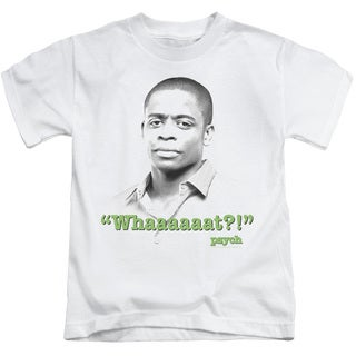 Psych/Whaaaaaat?! Short Sleeve Juvenile Graphic T-Shirt in White