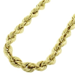 10k Yellow Gold 7mm Hollow Rope Chain Necklace