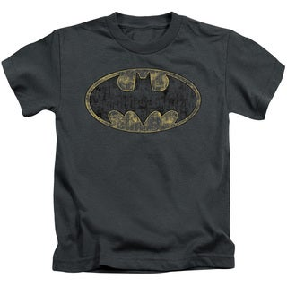 Batman/Tattered Logo Short Sleeve Juvenile Graphic T-Shirt in Charcoal