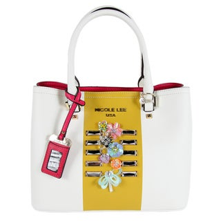 Nicole Lee Brielle Colorblock Multicolor White Nylon/Faux Leather Tote Bag
