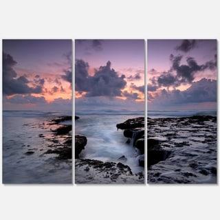 Dinosaur Footprint Magoito Beach - Contemporary Seascape Metal Wall At - 36Wx28H