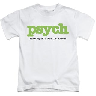 Psych/Title Short Sleeve Juvenile Graphic T-Shirt in White