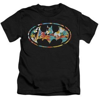 Batman/Hawaiian Bat Short Sleeve Juvenile Graphic T-Shirt in Black