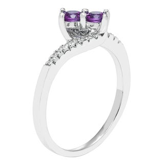 H Star Sterling Silver Amethyst and Diamond Accent Ring