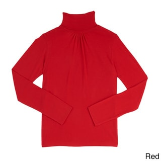 French Toast Girl's Solid-color Cotton and Polyester Turtleneck