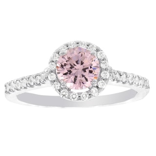 H Star Sterling Silver Pink Ice Center and White Ice Halo Ring