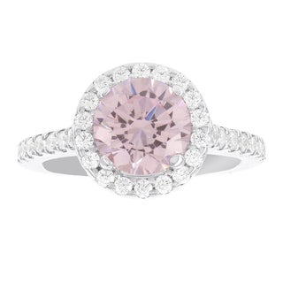 H Star Sterling Silver Pink Ice Center with White Ice Halo Ring