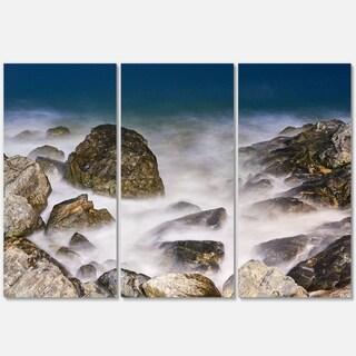 Rocky Waves at Haeundae Coast Busan - Contemporary Seascape Metal Wall At - 36Wx28H