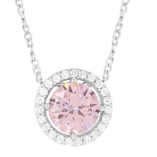 H Star Sterling Silver Pink and White Ice Halo Pendant