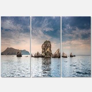 Crimean Peninsula Seashore Panorama - Contemporary Seascape Metal Wall At - 36Wx28H