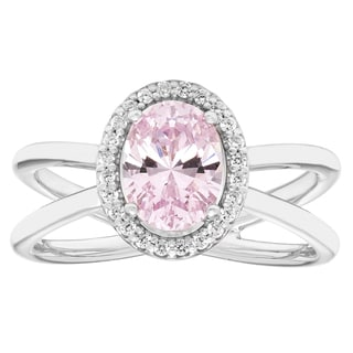 H Star Sterling Silver Oval Pink Ice Center and White Ice Halo Ring