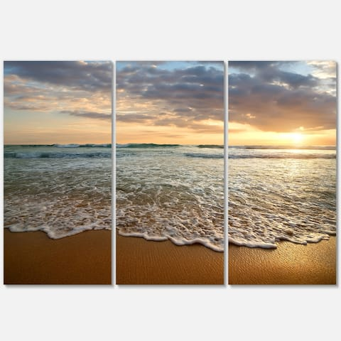 Bright Cloudy Sunset in Calm Ocean - Contemporary Seascape Metal Wall At - 36Wx28H