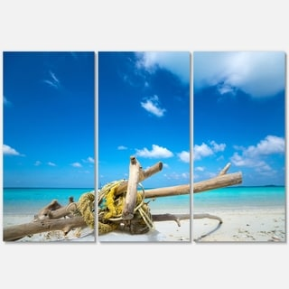 Deadwood on White Sand Beach - Contemporary Seascape Metal Wall At - 36Wx28H