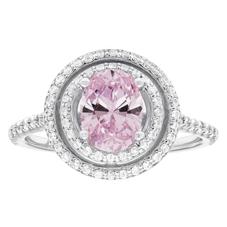 H Star Sterling Silver Pink and White Ice Oval Halo Fashion Ring