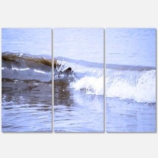 Crisp Blue Waves Splashing Beach - Contemporary Seascape Metal Wall At - 36Wx28H