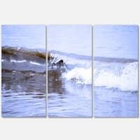 Crisp Blue Waves Splashing Beach - Contemporary Seascape Metal Wall At - 36Wx28H - 36 x 28