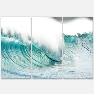 Massive Blue Waves Breaking Beach - Contemporary Seascape Metal Wall At - 36Wx28H