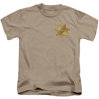 Eureka/Badge Short Sleeve Juvenile Graphic T-Shirt in Sand