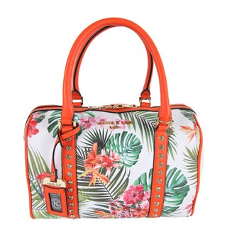 Nicole Lee Multicolored Faux-leather/Nylon Tropical Flowers Print Boston Handbag