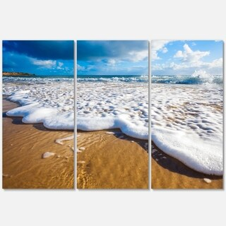 Foaming Ocean Waves on Sand - Extra Large Seascape Metal Wall At - 36Wx28H